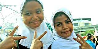 Young Moslem children yearning for peace.
