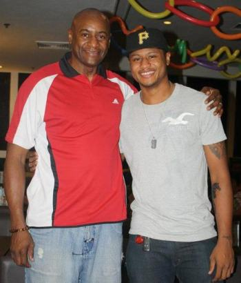 Bobby Parks, 7-time PBA Best Import; with son Ray, 2-time UAAP MVP