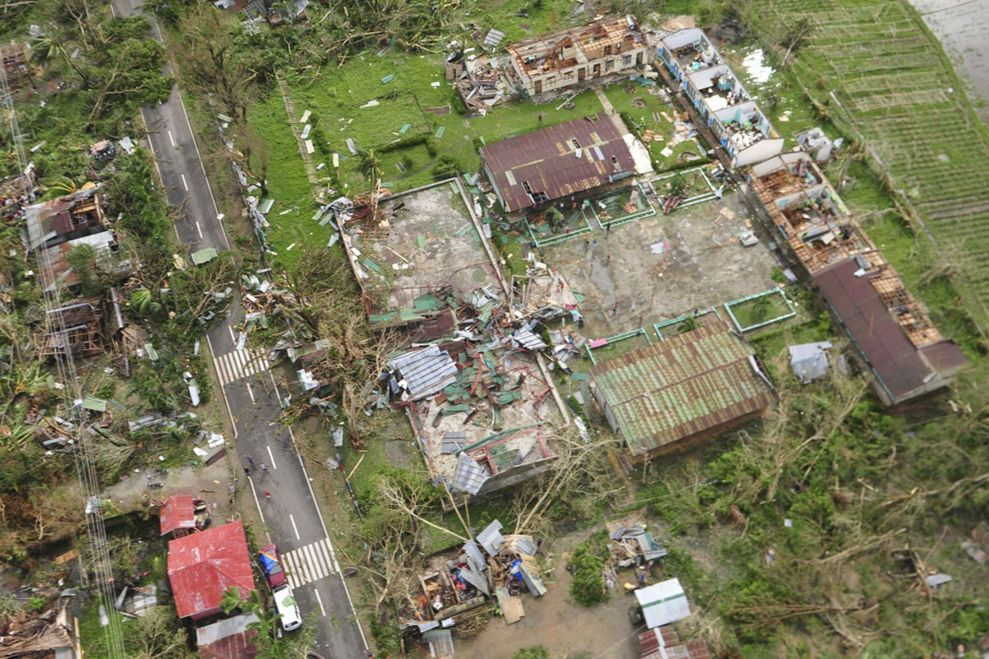 Aerial view of devastation in Tacloban