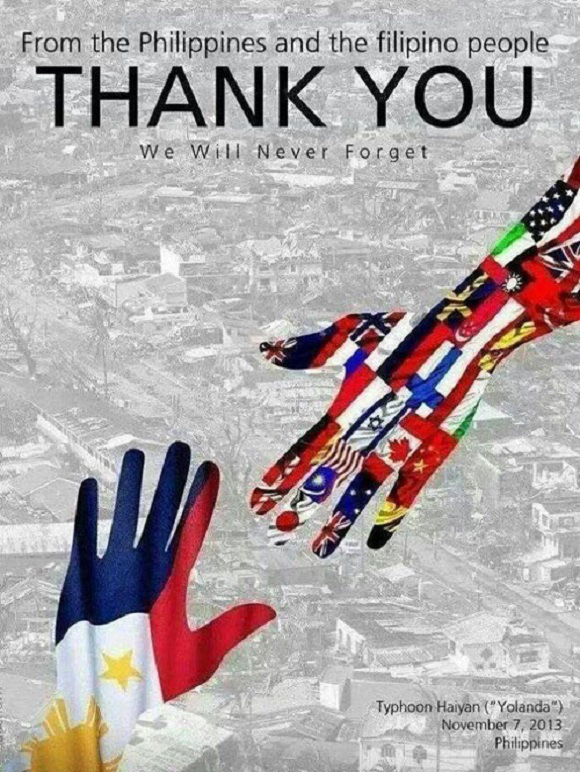 A grateful Philippines thanks the world for all the help and the prayers during our times of need. ((Photo courtesy of www.en.rocketnews24.com)