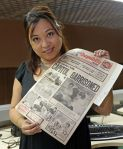 Now a veteran media personality, Rose with her news clippings...