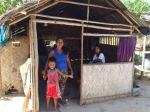 Leni converted this dirty kitchen into a temporary shelter for the family.
