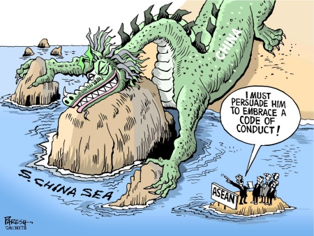 Group: ViewsAsia Credit: PARESH Source: The Khaleej Times - Dubai, UAE Keywords: COLOR SOUTH CHINA SEA ASEAN DRAGON CONDUCT 052715 Provider: CartoonArts International / The New York Times Syndicate