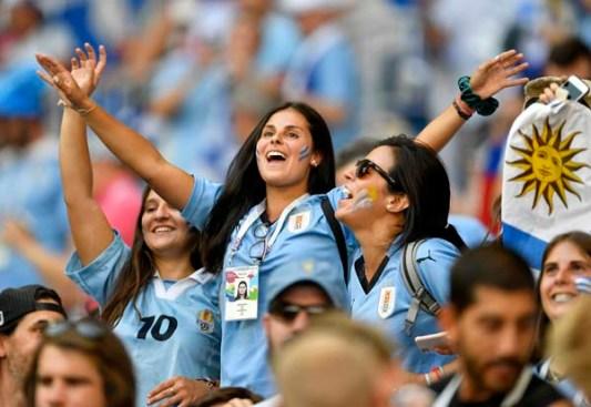 - Uruguay fans add more heat. (AP Photo/Martin Meissner)