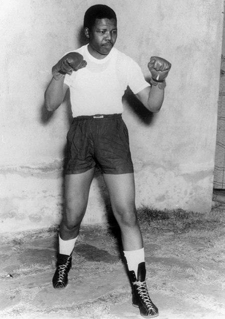 The young Mandela tried his hand in boxing.