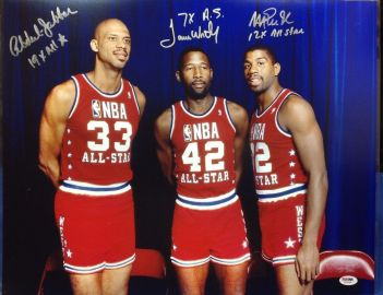 Kareem Abdul Jabbar, James Worthy and Magic Johnson (Pinterest)