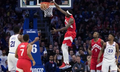 May 5, 2019; Philadelphia, PA, USA; Toronto Raptors forward Pascal Siakam (43) dunks against the Philadelphia 76ers during the fourth quarter in game four of the second round of the 2019 NBA Playoffs at Wells Fargo Center. Mandatory Credit: Bill Streicher-USA TODAY Sports