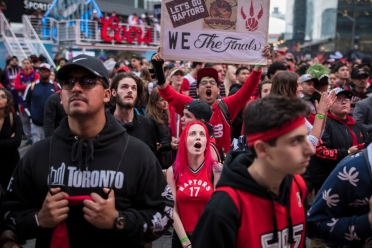 Toronto Raptors fans cheering their team on. (Tijana Martin)