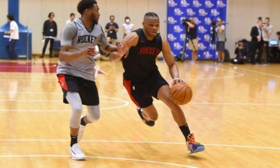 TOKYO, JAPAN - OCTOBER 6: Russell Westbrook of the Houston Rockets drives during practice and media availability as part of the 2019 NBA Japan Games at a training facility on October 6, 2019 in Tokyo, Japan. NOTE TO USER: User expressly acknowledges and agrees that, by downloading and/or using this Photograph, user is consenting to the terms and conditions of the Getty Images License Agreement. Mandatory Copyright Notice: Copyright 2019 NBAE (Photo by Bill Baptist/NBAE via Getty Images)
